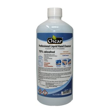 Chear Professional Liquid Hand Cleanser Sanitiser is a 70% alcohol solution